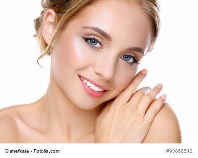 Portrait of young beautiful adult woman with healthy skin